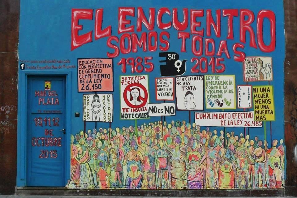 Imagen de uno de los murales que se están realizando en el marco del 30 Encuentro Nacional. Autora: Rasalba Pacheco.