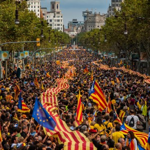BARCELONA, SPAIN - SEPTEMBER 11:  Demonstrators march during The National Day of Catalonia on September 11, 2013 in Barcelona, Spain. Thousands of Catalans celebrating the 'Diada Nacional' are holding demostrations to demand the right to hold a self-determination referendum next year.  (Photo by David Ramos/Getty Images)